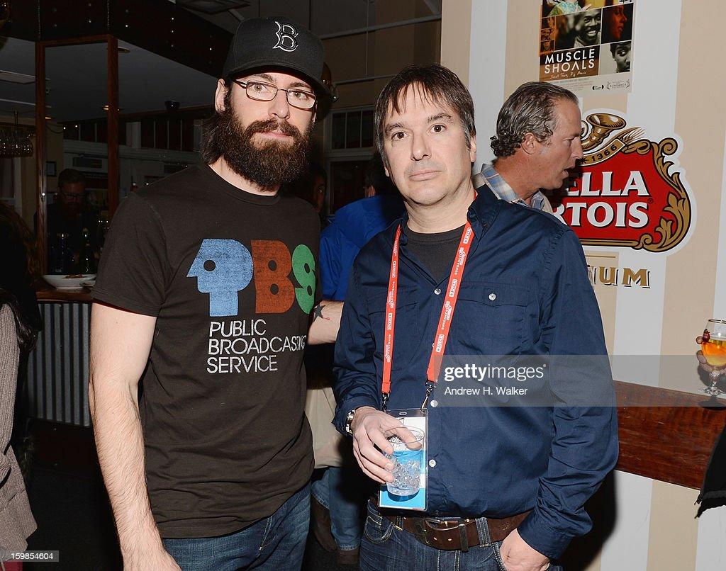 Actor <a gi-track='captionPersonalityLinkClicked' href=/galleries/search?phrase=Martin+Starr&family=editorial&specificpeople=3733303 ng-click='$event.stopPropagation()'>Martin Starr</a> and director Greg 'Freddy' Camalier attend the Stella Artois 'Muscle Shoals' cocktail party at Village at the Lift on January 21, 2013 in Park City, Utah.