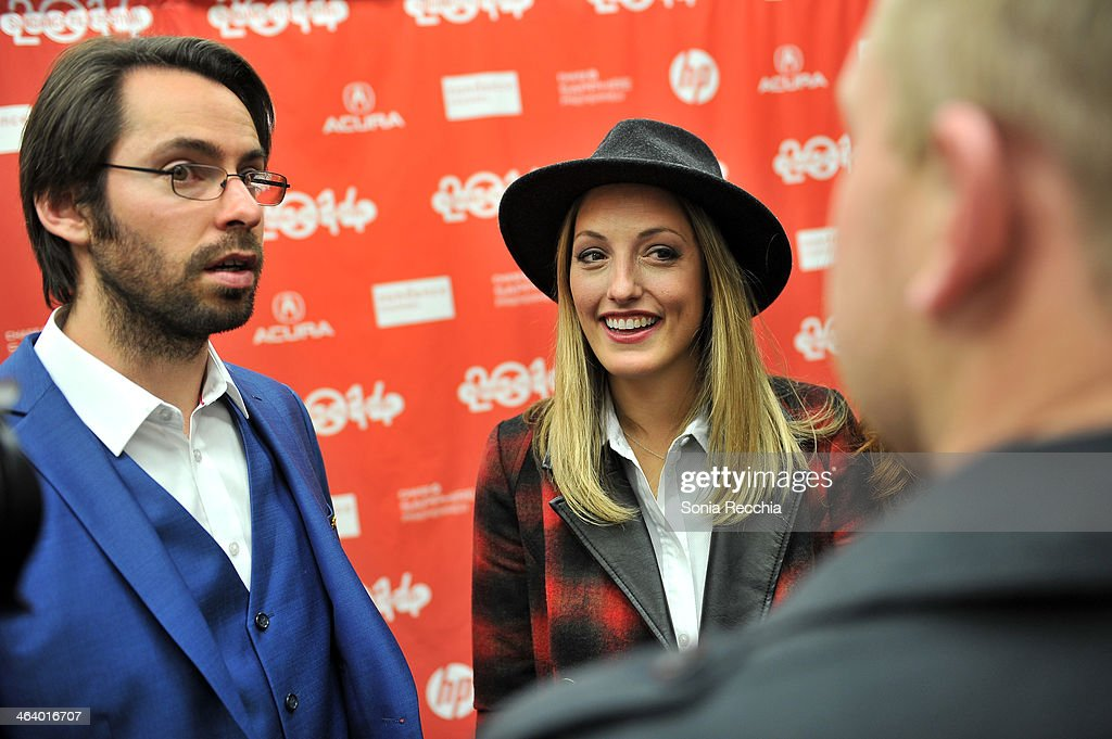 Actor Martin Starr (L) and Ingrid Haas attend the 'Dead Snow; Red vs. Dead' premiere at Library Center Theater during the 2014 Sundance Film Festival on January 19, 2014 in Park City, Utah.