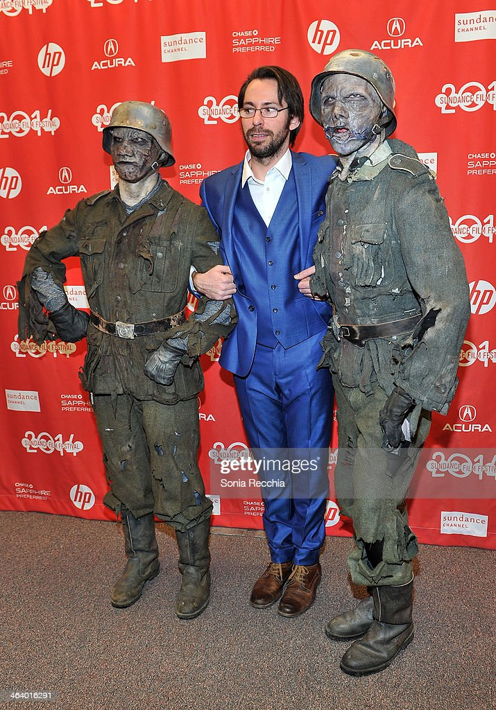 Actor Martin Starr (center) attends the 'Dead Snow; Red vs. Dead' premiere at Library Center Theater during the 2014 Sundance Film Festival on January 19, 2014 in Park City, Utah.