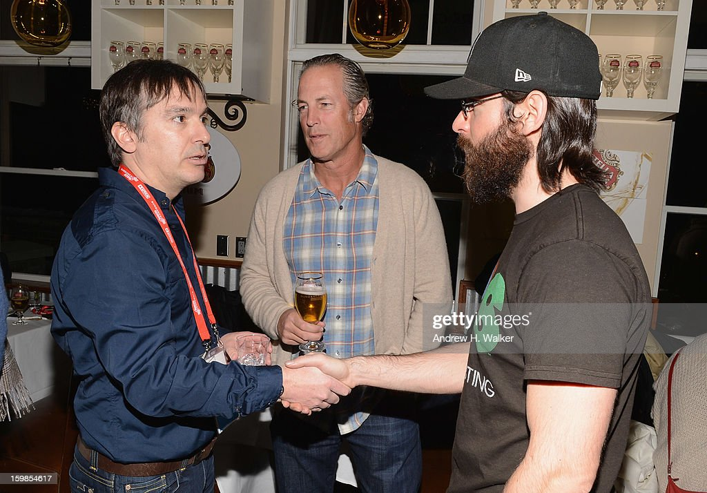 Actor Martin Starr, Jim Holleran, Director, Entertainment Marketing, Anheuser-Busch and director Greg 'Freddy' Camalier attend the Stella Artois 'Muscle Shoals' cocktail party at Village at the Lift on January 21, 2013 in Park City, Utah.