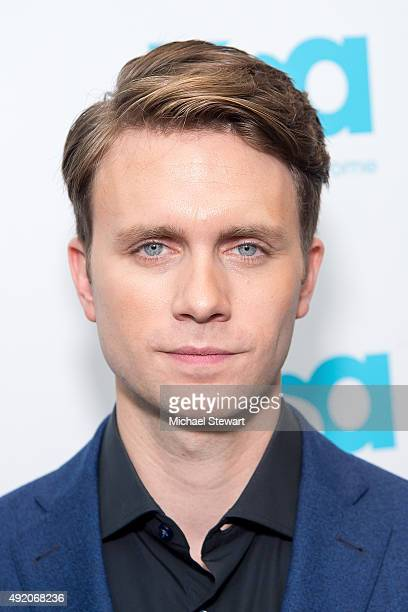Actor Martin Wallstrom poses in the press room for the 'Mr Robot' panel during New York ComicCon Day 2 at The Jacob K Javits Convention Center on...