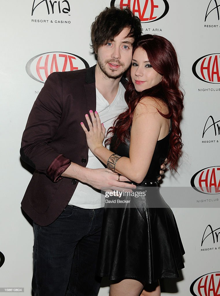 Actor Marty Shannon (L) and actress Jillian Rose Reed arrive at Haze Nightclub at the Aria Resort & Casino at CityCenter to celebrate her 21st birthday on December 20, 2012 in Las Vegas, Nevada.