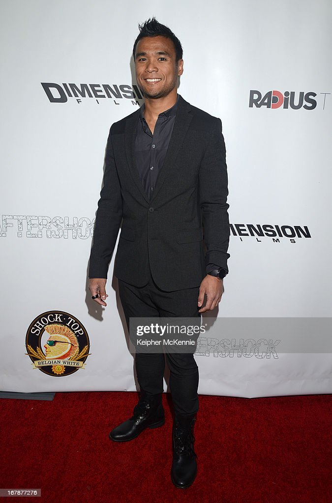 Actor Marvin Estrellado arrives for the Aftershock premiere at Mann Chinese 6 on May 1, 2013 in Los Angeles, California.