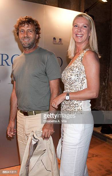 Actor Massimo Ciavarro and fiancee Claudia attend the the 2009 Nastri D'Argento Nominations dinner party at Villa Medici on May 28 2009 in Rome Italy