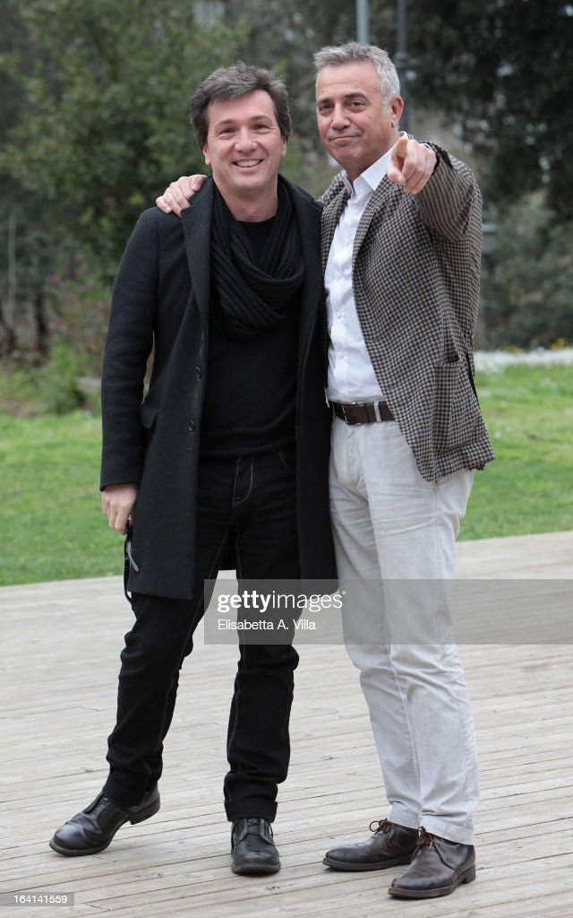 Actor Massimo Ghini, right, and producer Roberto Cipullo attend 'Outing Fidanzati Per Sbaglio' photocall at Casa del Cinema on March 20, 2013 in Rome, Italy.