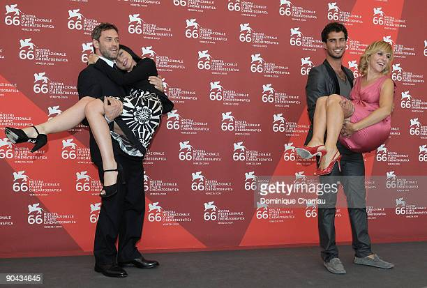 Actor Massimo Poggio actress Maria de Medeiros actor Thyago Alves and actress Michela Cesconattend the 'Il Compleanno' Photocall at the Palazzo del...