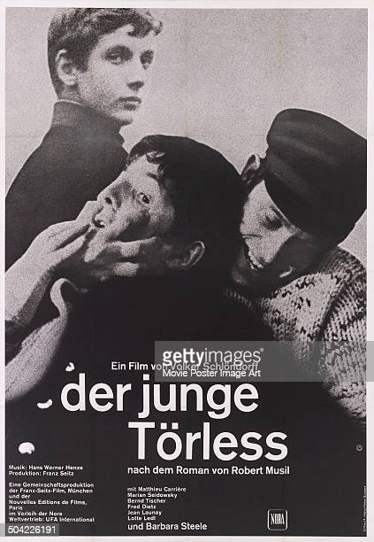 Actor Mathieu Carrière appears on the poster for the German movie 'Der junge Törless' 1966 Adapted from the novel by Robert Musil the film was...