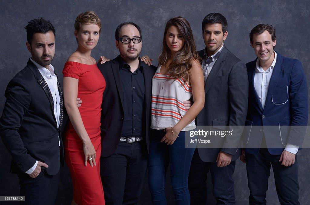 Actor Matias Lopez actress Andrea Osvart director Nicolás López actress Lorenza Izzo actor Eli Roth and actor Ariel Levy of 'Aftershock' pose at the...
