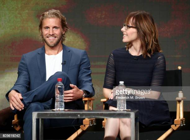 Actor Matt Barr and executive producer Anna Fricke of 'Valor' speak onstage during the CW portion of the 2017 Summer Television Critics Association...