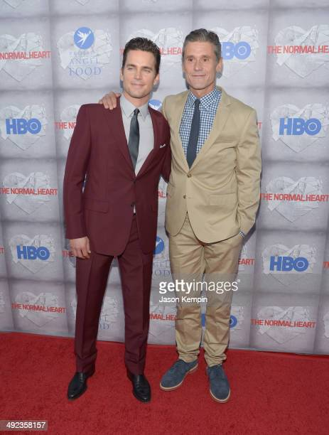 Actor Matt Bomer and husband Simon Halls attend HBO's 'The Normal Heart' Premiere at The Writers Guild Theatre on May 19 2014 in Beverly Hills...