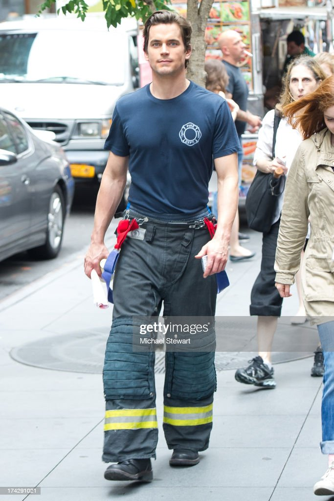 Actor <a gi-track='captionPersonalityLinkClicked' href=/galleries/search?phrase=Matt+Bomer&family=editorial&specificpeople=2960058 ng-click='$event.stopPropagation()'>Matt Bomer</a> seen on the set of 'White Collar' on July 23, 2013 in New York City.