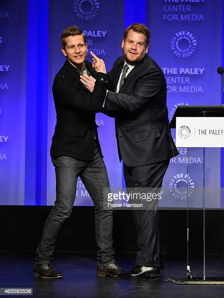 Actor Matt Czuchry and moderator James Corden on stage at The Paley Center For Media's 32nd Annual PALEYFEST LA 'The Good Wife' at Dolby Theatre on...