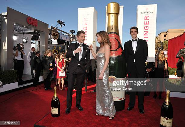 Actor Matt Czuchry does Taittinger Champagne toast at The 18th Annual Screen Actors Guild Awards broadcast on TNT/TBS at The Shrine Auditorium on...