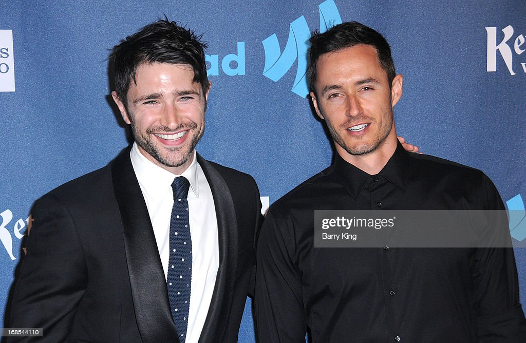 Actor Matt Dallas (L) and musician Blue Hamilton arrive at the 24th Annual GLAAD Media Awards at JW Marriott Los Angeles at L.A. LIVE on April 20, 2013 in Los Angeles, California.