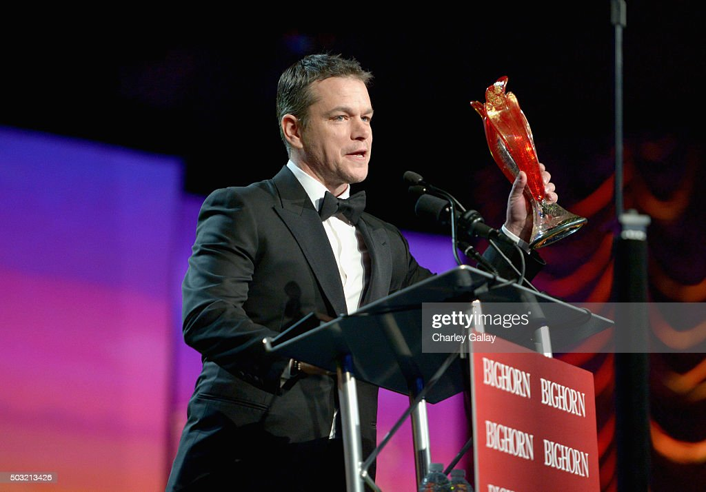 Actor Matt Damon accepts the Chairman's Award onstage at the 27th Annual Palm Springs International Film Festival Awards Gala at Palm Springs...