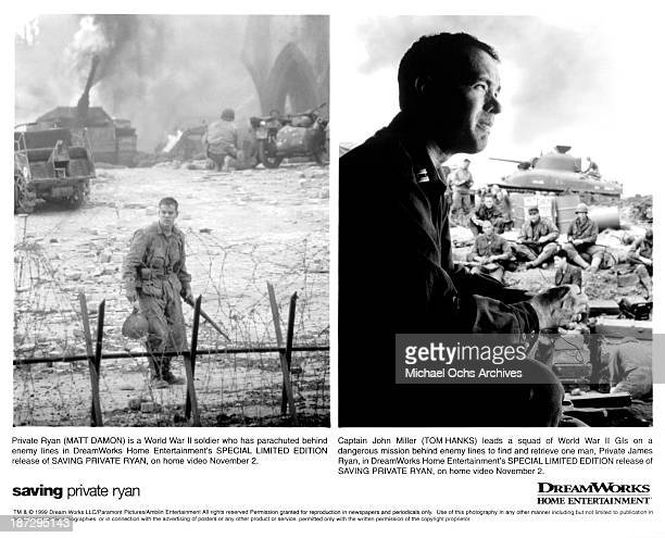 Actor Matt Damon actor Tom Hanks on set of the DreamWorks movie 'Saving Private Ryan' in 1998