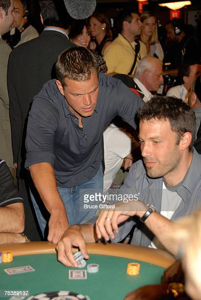 Actor Matt Damon and Actor Ben Affleck arrive at the 'Ante Up for Africa' celebrity poker tournament during the World Series of Poker at the Rio...