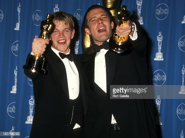 Actor Matt Damon and actor Ben Affleck attend the 70th Annual Academy Awards on March 23 1998 at Shrine Auditorium in Los Angeles California
