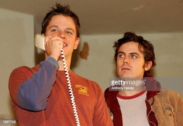 Actor Matt Damon and Casey Affleck perform a scene from the play 'This Is Our Youth' at the Garrick Theatre April 30 2002 in the West End of London