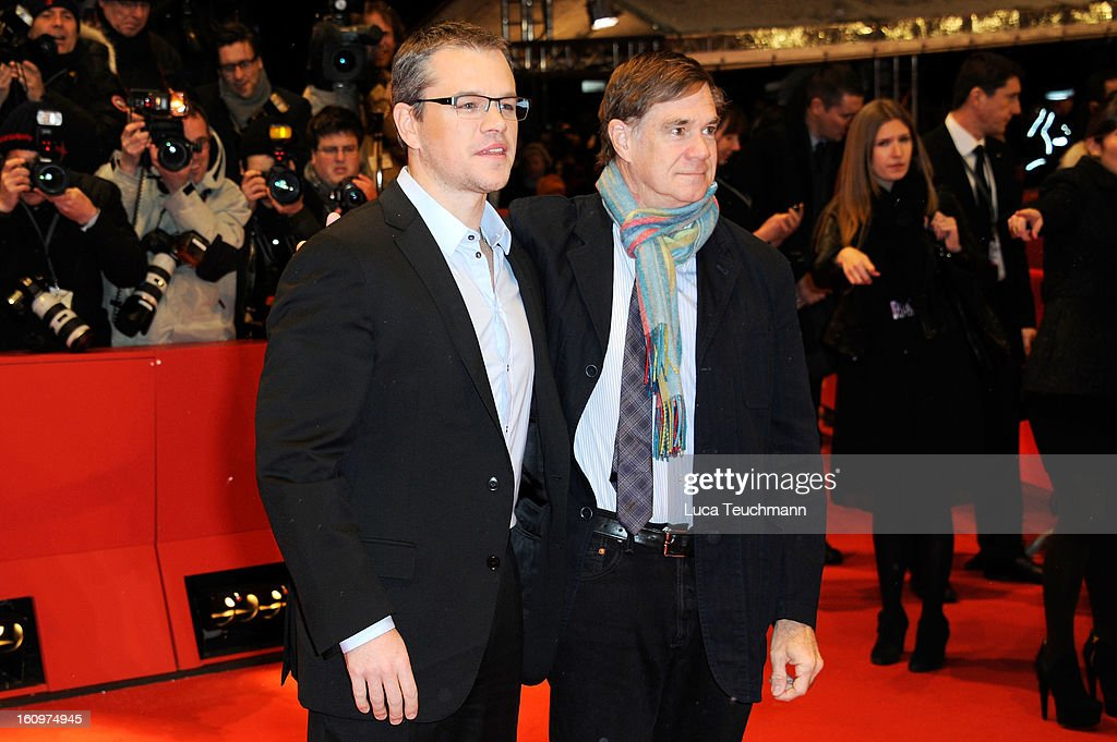 Actor <a gi-track='captionPersonalityLinkClicked' href=/galleries/search?phrase=Matt+Damon&family=editorial&specificpeople=202093 ng-click='$event.stopPropagation()'>Matt Damon</a> and Director <a gi-track='captionPersonalityLinkClicked' href=/galleries/search?phrase=Gus+Van+Sant&family=editorial&specificpeople=626229 ng-click='$event.stopPropagation()'>Gus Van Sant</a> attend 'Promised Land' Premiere during the 63rd Berlinale International Film Festival at Berlinale Palast on February 8, 2013 in Berlin, Germany.