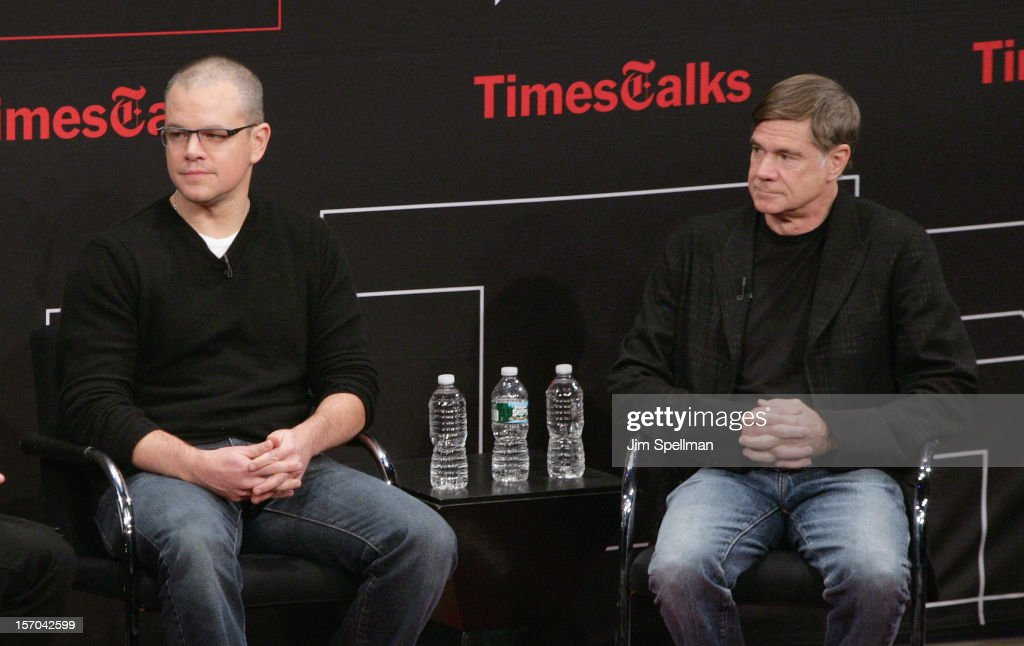 Actor Matt Damon and director Gus Van Sant attend TimesTalk Presents An Evening With Marion Cotillard, Matt Damon & Gus Van Sant at TheTimesCenter on November 27, 2012 in New York City.