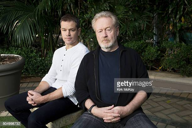 Actor Matt Damon and director Ridley Scott of 'The Martian' are photographed for Los Angeles Times on December 7 2015 in Los Angeles California...
