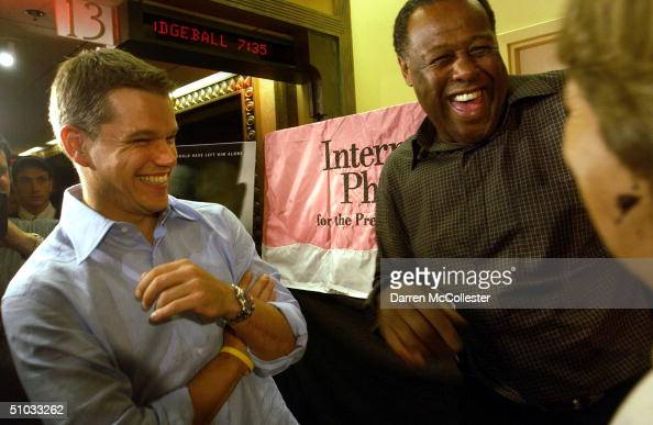 Actor Matt Damon and former Boston Celtic ML Carr attend the premiere of his new movie 'The Bourne Supremacy' July 7 2004 at the Loews Boston Common...
