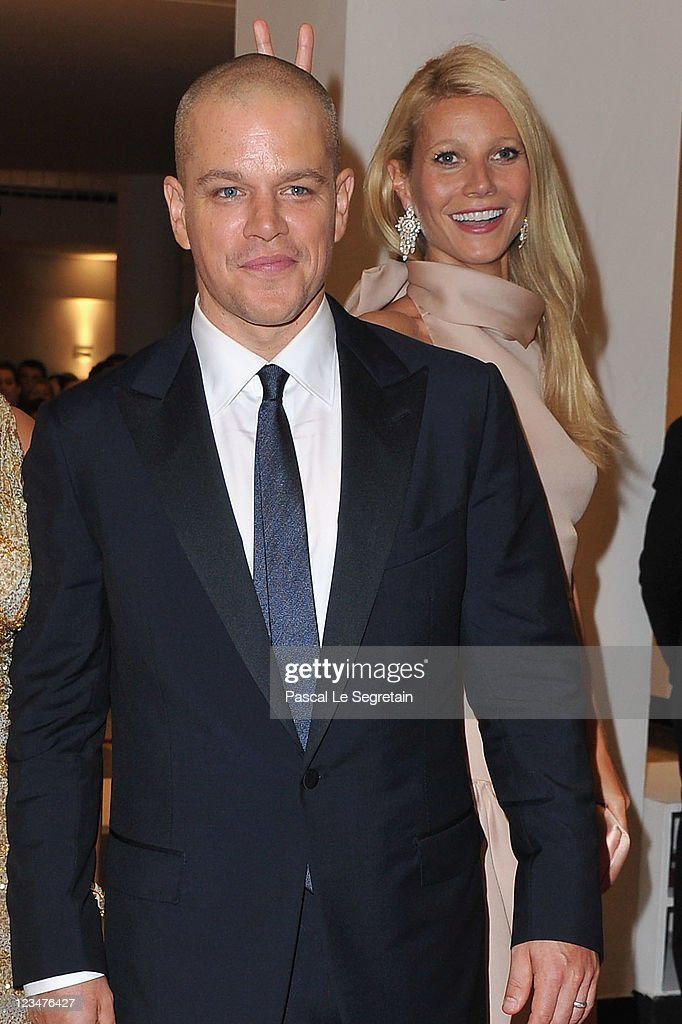 Actor <a gi-track='captionPersonalityLinkClicked' href=/galleries/search?phrase=Matt+Damon&family=editorial&specificpeople=202093 ng-click='$event.stopPropagation()'>Matt Damon</a> and <a gi-track='captionPersonalityLinkClicked' href=/galleries/search?phrase=Gwyneth+Paltrow&family=editorial&specificpeople=171431 ng-click='$event.stopPropagation()'>Gwyneth Paltrow</a> attends the 'Contagion' premiere during the 68th Venice Film Festival at Palazzo del Cinema on September 3, 2011 in Venice, Italy.