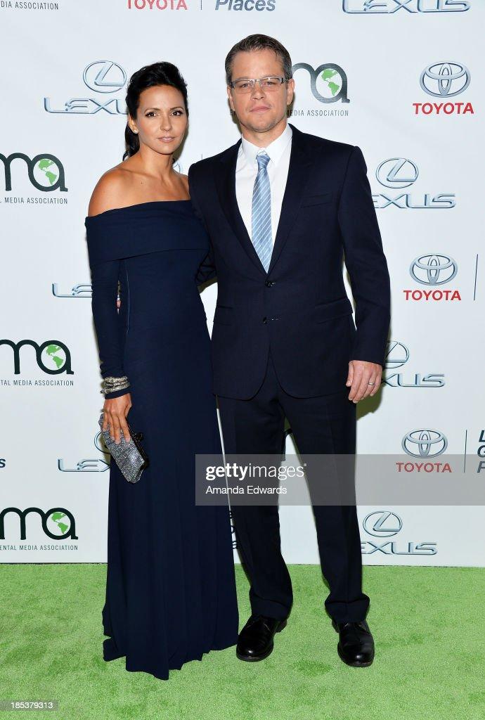 Actor Matt Damon (R) and his wife Luciana Damon arrive at the 2013 Environmental Media Awards at Warner Bros. Studios on October 19, 2013 in Burbank, California.