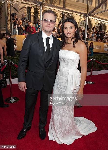Actor Matt Damon and Luciana Barroso attend the 20th Annual Screen Actors Guild Awards at The Shrine Auditorium on January 18 2014 in Los Angeles...
