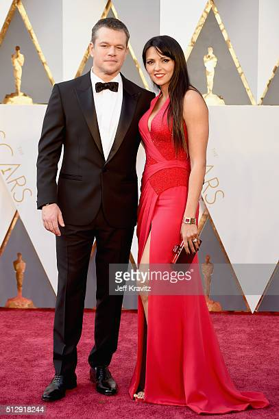 Actor Matt Damon and Luciana Barroso attend the 88th Annual Academy Awards at Hollywood Highland Center on February 28 2016 in Hollywood California