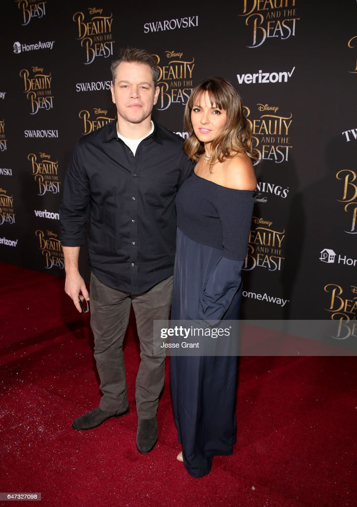 Actor Matt Damon (L) and Luciana Damon arrive for the world premiere of Disney's live-action 'Beauty and the Beast' at the El Capitan Theatre in Hollywood as the cast and filmmakers continue their worldwide publicity tour on March 2, 2017 in Los Angeles, California.