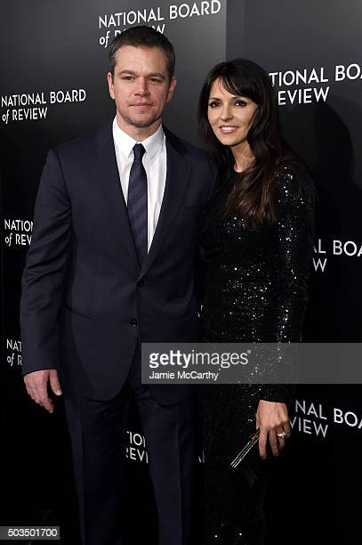 Actor Matt Damon and Luciana Damon attend 2015 National Board of Review Gala at Cipriani 42nd Street on January 5 2016 in New York City