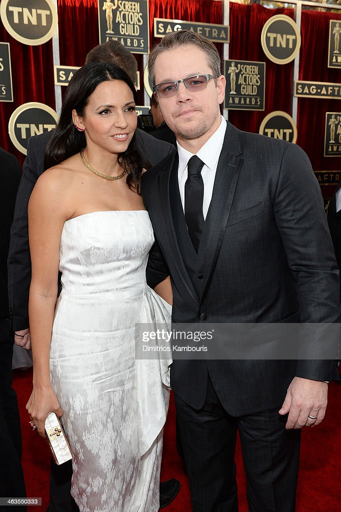 Actor Matt Damon (R) and Luciana Damon attend 20th Annual Screen Actors Guild Awards at The Shrine Auditorium on January 18, 2014 in Los Angeles, California.