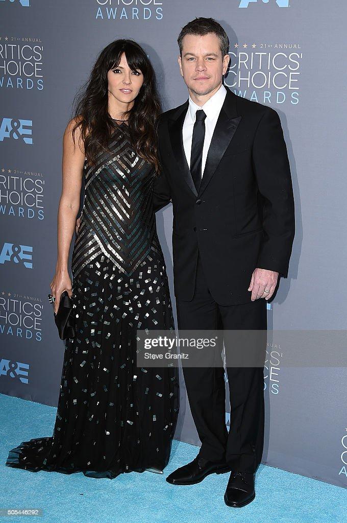 Actor Matt Damon (R) and Luciana Damon attend the 21st Annual Critics' Choice Awards at Barker Hangar on January 17, 2016 in Santa Monica, California.