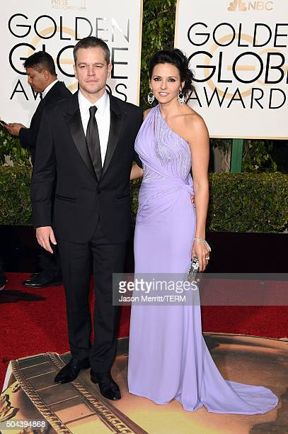 Actor Matt Damon and Luciana Damon attend the 73rd Annual Golden Globe Awards held at the Beverly Hilton Hotel on January 10 2016 in Beverly Hills...
