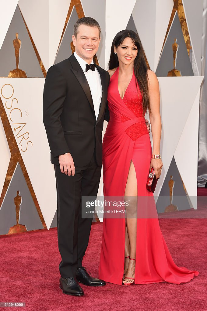 Actor Matt Damon (L) and Luciana Damon attend the 88th Annual Academy Awards at Hollywood & Highland Center on February 28, 2016 in Hollywood, California.