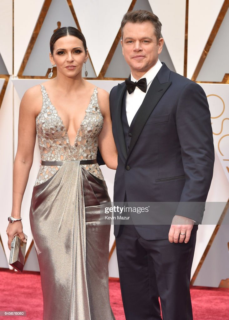 Actor Matt Damon (R) and Luciana Damon attend the 89th Annual Academy Awards at Hollywood & Highland Center on February 26, 2017 in Hollywood, California.