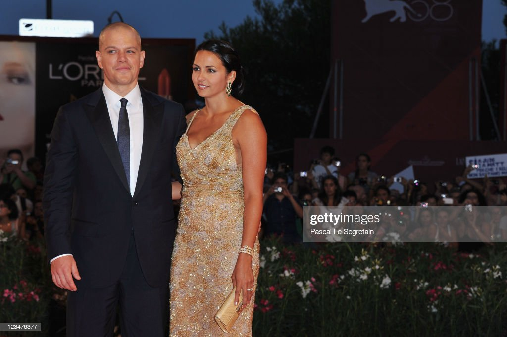 Actor <a gi-track='captionPersonalityLinkClicked' href=/galleries/search?phrase=Matt+Damon&family=editorial&specificpeople=202093 ng-click='$event.stopPropagation()'>Matt Damon</a> and Luciana Barroso attend the 'Contagion' premiere during the 68th Venice Film Festival at Palazzo del Cinema on September 3, 2011 in Venice, Italy.
