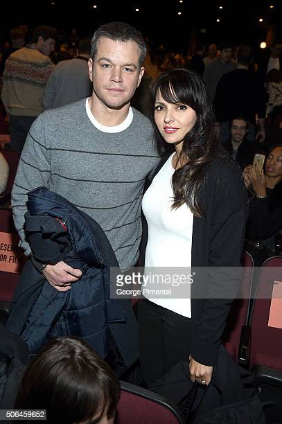 Actor Matt Damon and Luciana Barroso attend the 'Manchester By The Sea' Premiere during the 2016 Sundance Film Festival at Eccles Center Theatre on...