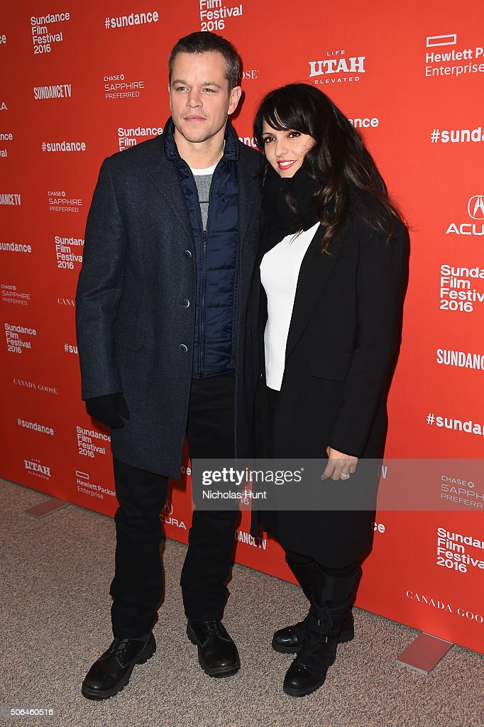 Actor Matt Damon and Luciana Damon attend the 'Manchester By The Sea' Premiere during the 2016 Sundance Film Festival at Eccles Center Theatre on January 23, 2016 in Park City, Utah.