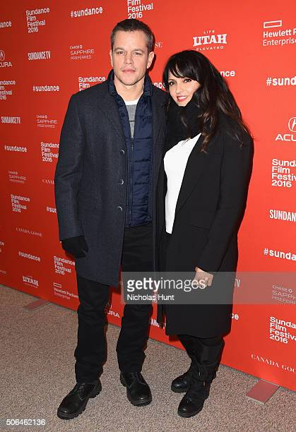 Actor Matt Damon and Luciana Damon attend the 'Manchester By The Sea' Premiere during the 2016 Sundance Film Festival at Eccles Center Theatre on...
