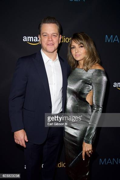 Actor Matt Damon and Luciana Barroso attend the Premiere Of Amazon Studios 'Manchester By The Sea' at Samuel Goldwyn Theater on November 14 2016 in...