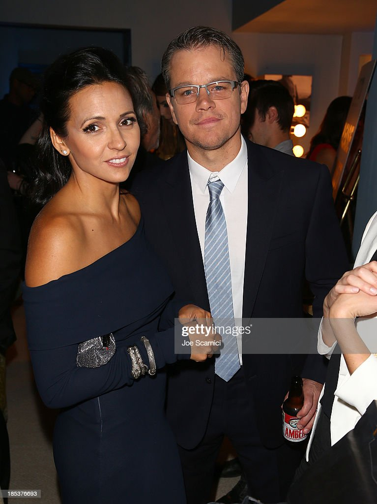Actor Matt Damon (R) and Luciana Damon attends the 23rd Annual Environmental Media Awards presented by Toyota and Lexus at Warner Bros. Studios on October 19, 2013 in Burbank, California.