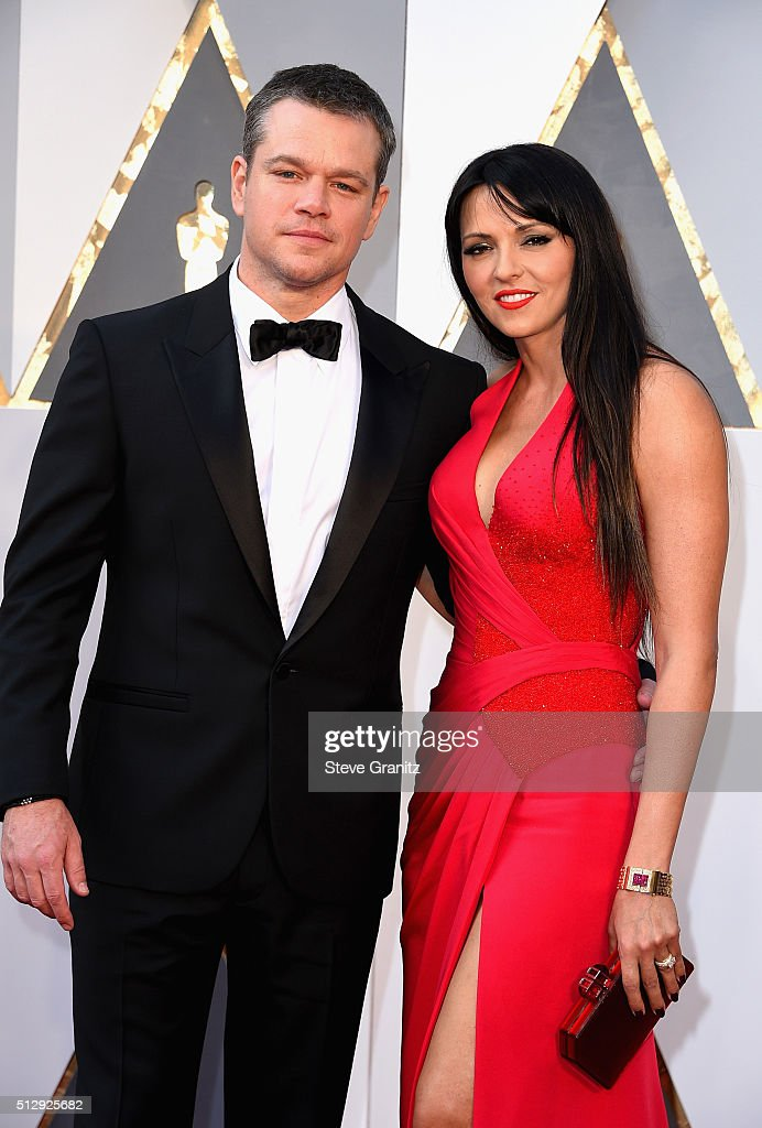 Actor Matt Damon (L) and Luciana Damon attends the 88th Annual Academy Awards at Hollywood & Highland Center on February 28, 2016 in Hollywood, California.