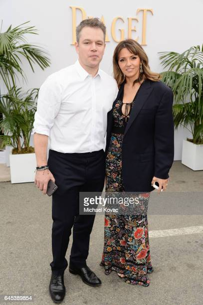 Actor Matt Damon and Luciana Barroso with Piaget at the 2017 Film Independent Spirit Awards at Santa Monica Pier on February 25 2017 in Santa Monica...