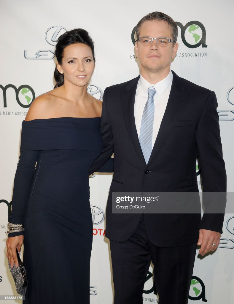 Actor <a gi-track='captionPersonalityLinkClicked' href=/galleries/search?phrase=Matt+Damon&family=editorial&specificpeople=202093 ng-click='$event.stopPropagation()'>Matt Damon</a> (R) and wfie Luciana Barroso arrive at the 2013 Environmental Media Awards at Warner Bros. Studios on October 19, 2013 in Burbank, California.