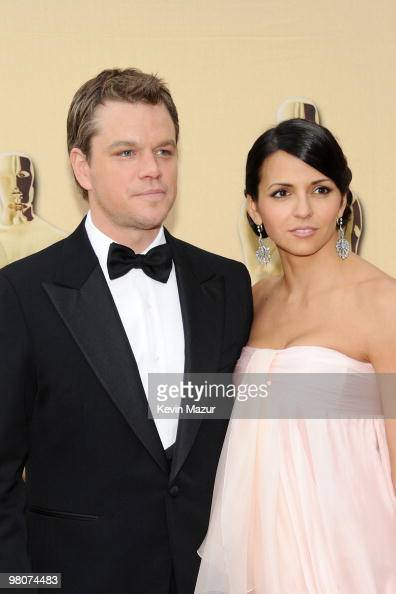 Actor Matt Damon and wife Luciana Barroso arrive at the 82nd Annual Academy Awards at the Kodak Theatre on March 7 2010 in Hollywood California