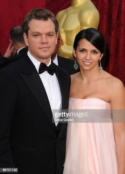 Actor Matt Damon and wife Luciana Barroso arrive at the 82nd Annual Academy Awards held at the Kodak Theatre on March 7 2010 in Hollywood California