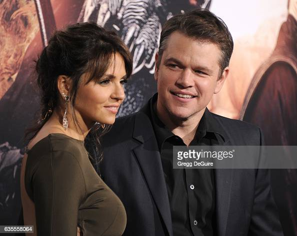 Actor Matt Damon and wife Luciana Barroso arrive at the premiere of Universal Pictures' 'The Great Wall' at TCL Chinese Theatre IMAX on February 15...